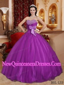 Perfect Purple Ball Gown Sweetheart Floor-length Tulle and Tafftea Beading Quinceanera Dress
