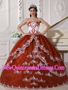Perfect Rust Red and White Ball Gown Strapless Floor-length Organza Appliques Quinceanera Dress