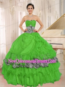 Perfect Wholesale Green Sweetheart Ruffles Quinceanera Dress With Zebra and Beading I