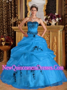 Plus Size Aqua Blue Ball Gown Sweetheart Floor-length Satin and Organza with Embroidery Quinceanera Dresses