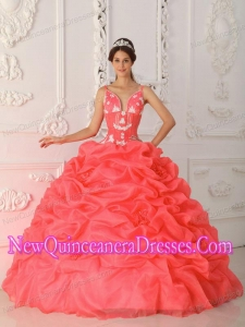 Plus Size Coral Red Ball Gown Straps Floor-length Satin and Organza with Appliques Quinceanera Dresses