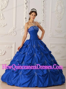Plus Size Dark Blue Ball Gown Strapless Floor-length Taffeta Appliques and Beading Quinceanera Dresses