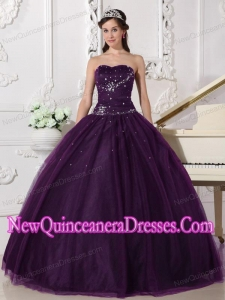 Plus Size Dark Purple Ball Gown Sweetheart Floor-length Tulle with Rhinestone Quinceanera Dresses