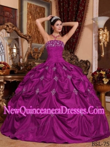 Plus Size Fuchsia Ball Gown Strapless Floor-length Taffeta with Appliques Quinceanera Dresses