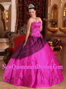 Plus Size Fuchsia Ball Gown Sweetheart Floor-length Satin Embroidery with Beading Quinceanera Dresses