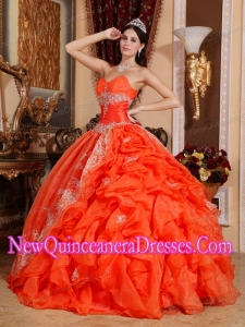 Plus Size Red Ball Gown Sweetheart Floor-length Organza with Beading Quinceanera Dresses