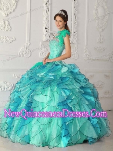 Plus Size Turquoise Ball Gown Strapless Floor-length Satin and Organza with Beading Quinceanera Dresses