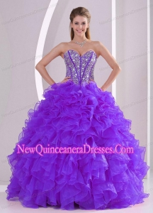 Purple Ball Gown Sweetheart Lace Up Popular Quinceanera Gowns with Ruffles and Beading