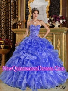 Ball Gown Sweetheart Ruffles Organza Popular Quinceanera Gowns