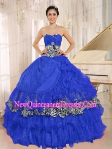 Wholesale Blue Sweetheart Ruffles Fashionable Quinceanera Dress With Zebra and Beading