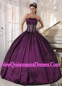 A Ball Gown Strapless With Embroidery and Beading Simple Quinceanera Dresses