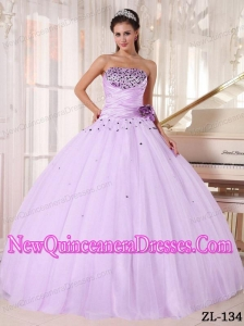 A Lilac Ball Gown Strapless Beading and Ruch Simple Quinceanera DressesPDZY737-2PRT