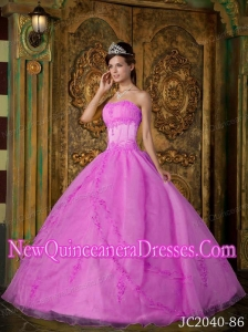 A Rose Pink Strapless Appliques Organza Simple Quinceanera Dresses