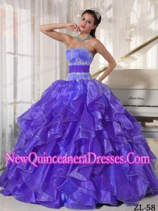 Appliques Strapless Ball Gown Organza Pretty Sweet 15 Dresses