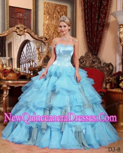 Aqua Blue Ball Gown Sweetheart Organza Beading Popular Quinceanera Gowns