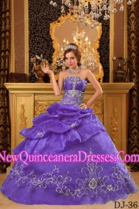 Ball Gown Strapless Organza Beading Pretty Sweet 15 Dresses in Lavender