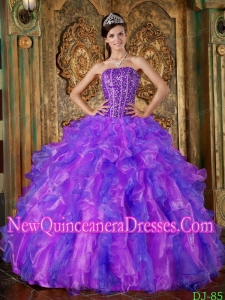 Ball Gown Strapless Organza Puffy Beading and Ruffles Quinceanera Dress in Multi-Color