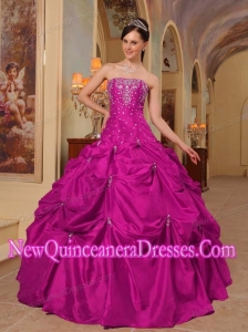 Ball Gown Strapless Taffeta Beading and Embroidery Popular Quinceanera Gowns in Fuchsia