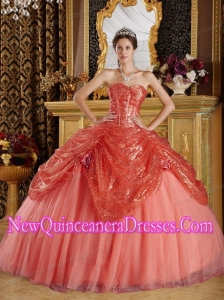 Ball Gown Sweetheart Rust Red Sequined and Tulle Handle Flowers Puffy Sweet 16 Gowns