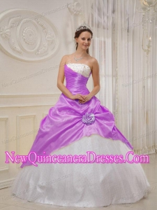 Beading Strapless Floor-length Purple and White Puffy Sweet 16 Gowns