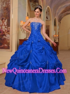 Blue Ball Gown Strapless Floor-length Taffeta Beading and Embroidery Quinceanera Dress