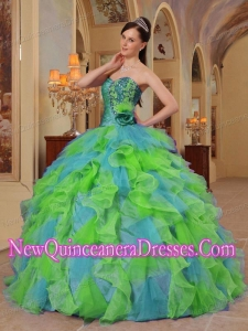 Clorful Ball Gown Sweetheart Ruffles Organza Puffy Quinceanera Dress
