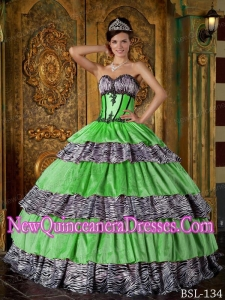 Luxurious Ball Gown Sweetheart Floor-length Zebra Ruffles Puffy Quinceanera Dress