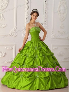 Olive Green Ball Gown Strapless Floor-length Taffeta Appliques and Beading Popular Quinceanera Gowns