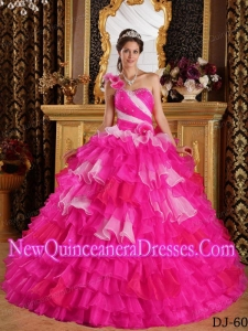 One Shoulder Ruffles and Beading Pretty Sweet 15 Dresses in Hot Pink and White