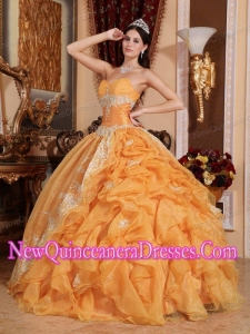 Orange Ball Gown Sweetheart With Organza Beading Simple Quinceanera Dresses