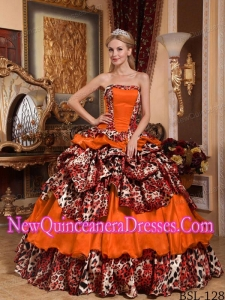 Orange Red WithTaffeta and Leopard Pick-ups Simple Quinceanera Dresses