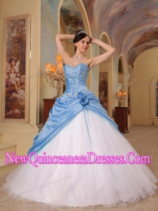 Plus Size Aqua Blue and White A-Line Sweetheart Floor-length with Beading Quinceanera Dresses