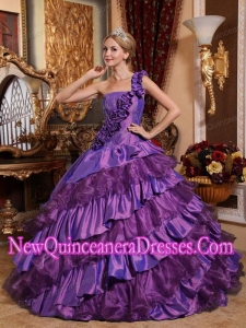 Plus Size Ball GownOne Shoulder Taffeta and Organza Hand Made Flowers Quinceanera Dresses
