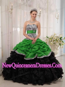 Plus Size Brand New Green and Black Ball Gown Sweetheart Floor-length Quinceanera Dresses