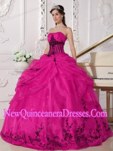 Plus Size Coral Red and Black Ball Gown Strapless Floor-length Organza with Appliques Quinceanera Dresses