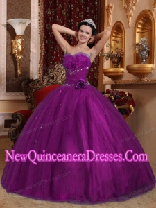 Plus Size Eggplant Purple Ball Gown Sweetheart Floor-length Tulle with Beading Quinceanera Dresses