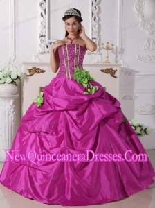 Plus Size Fuchsia Ball Gown Strapless Floor-length Taffeta Beading and Hand Made Flowers Quinceanera Dresses