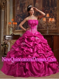 Plus Size Fuchsia Ball Gown Strapless Floor-length with Appliques Taffeta Quinceanera Dresses