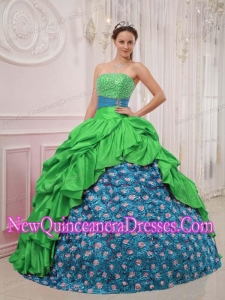 Plus Size Green and Blue Ball Gown Strapless Floor-length with Beading Quinceanera Dresses