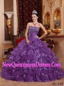 Plus Size Lavender Ball Gown Strapless Floor-length Organza with Beading Quinceanera Dresses
