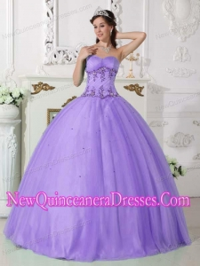 Plus Size Lilac Ball Gown Sweetheart Floor-length Tulle and Taffeta with Beading Quinceanera Dresses