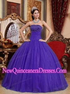 Plus Size Purple Ball Gown Strapless Floor-length Tulle Embroidery with Beading Quinceanera Dresses