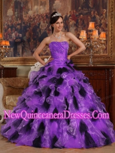 Plus Size Purple and Black Ball Gown Strapless Floor-length Organza QQuinceanera Dresses