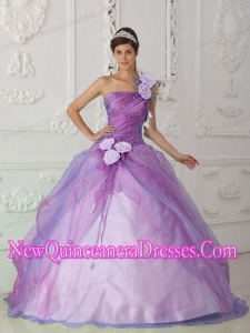 Plus Size Rose Pink Ball Gown One Shoulder Floor-length Organza Beading and Hand Flower Quinceanera Dresses