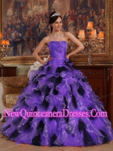 Popular Purple and Black Ball Gown Strapless Quinceanera Gowns