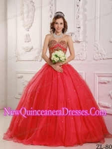 Princess Sweetheart Satin and Organza Beading Pretty Sweet 15 Dresses in Red