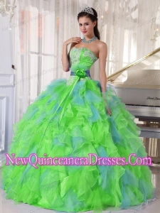 Puffy Spring Green and Blue Organza Appliques and Ruffles Quinceanera Dress