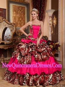 Puffy Strapless Taffeta and Leopard Pick-ups Quinceanera Dress in Coral Red