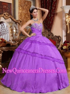 Purple Ball Gown Sweetheart Floor-length Taffeta Appliques Quinceanera Dress