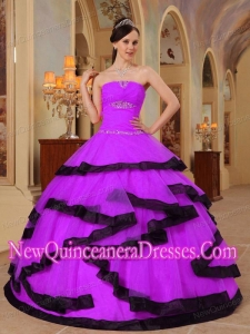 Purple and Black Strapless Floor-length Organza Puffy Sweet 16 Gowns with Appliques